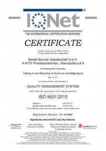 ISO Zertifikat 9001:2015 von IQNet