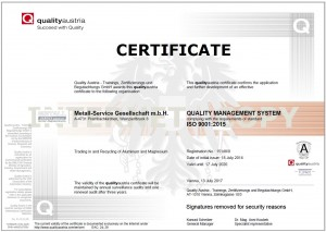 ISO Zertifikat 9001:2015 von qualityAustria