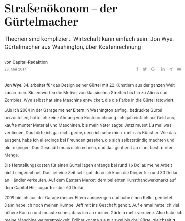 Straßenökonom – der Gürtelmacher - Capital.de 2014-05-28