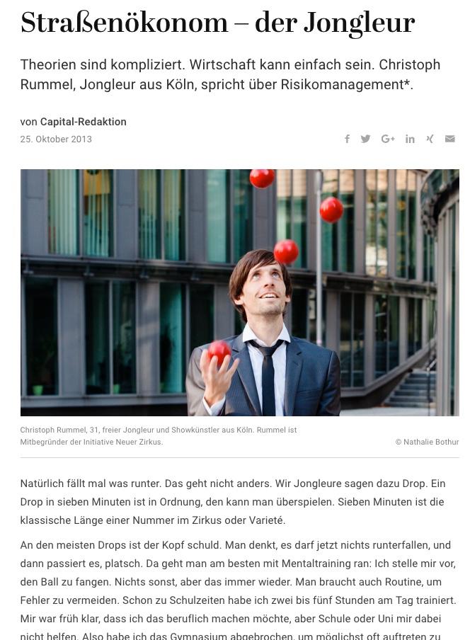 Straßenökonom – der Jongleur - Capital.de 2013-10-25
