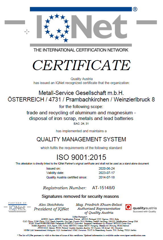 Certificate ISO 9001:2015 issued by IQNet
