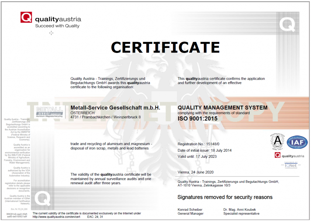 Zertifikat qualityaustria ISO 9001:2015